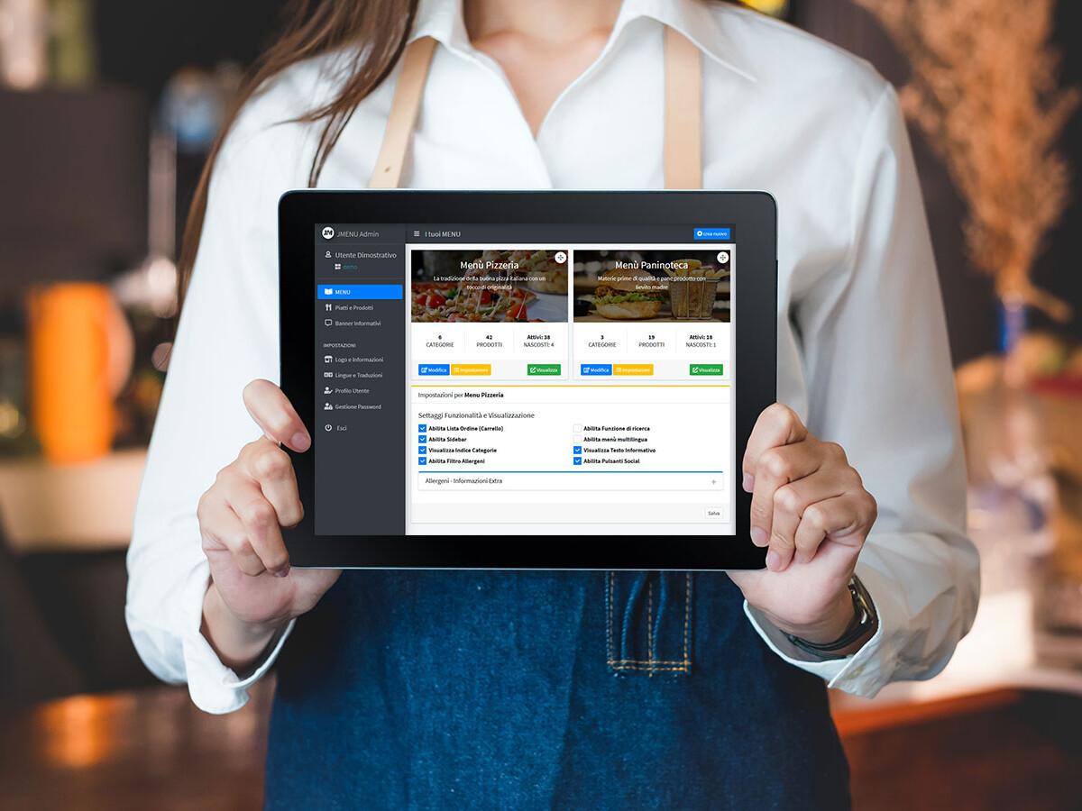 gestione semplice menu digitale ristoranti pizzerie bar pub